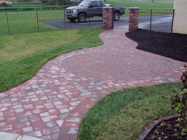 Brick Walkway with Circular Design