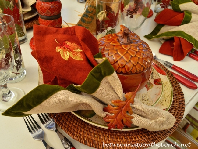 Burlap and Green Velvet Napkins in a Fall Table Setting