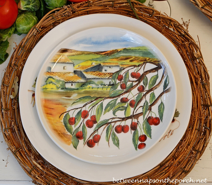 Ceramisia Dishware Made in Ialy Depicting Olive Trees and Italian Villas & Garden Themed Table Setting Tablescape featuring Peter Rabbit