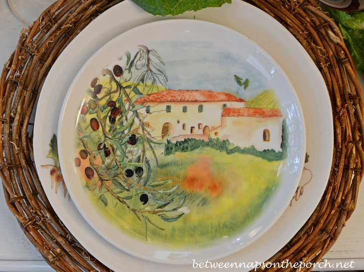 Ceramisia Dishware Made in Italy Depicting Villa in Italy