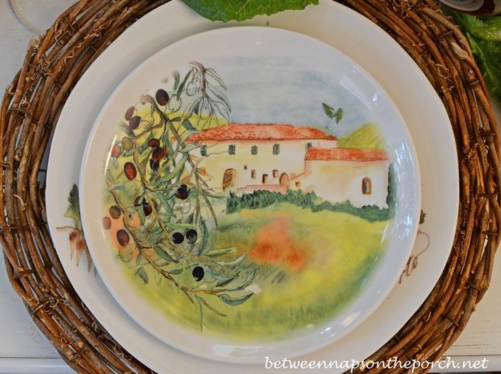 Ceramisia Dishware Made in Italy Depicting Villa in Italy