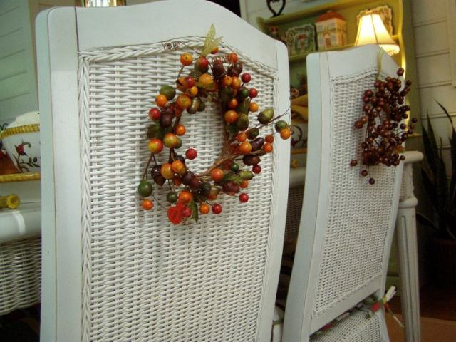 Chair Backs Decorated with Fall Wreaths