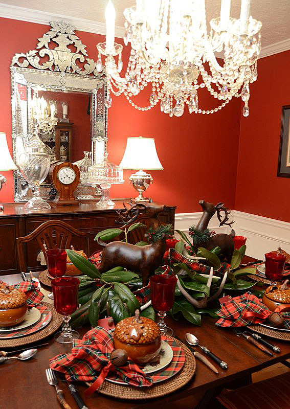 Christmas-Tablescape-with-Plaid-Dinner-Plates-and-Deer-Salad-Plates 2