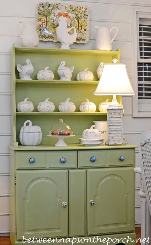 Decorate a Hutch for Fall in White