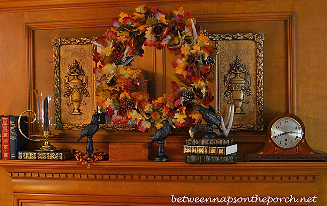 Fall Autumn Mantel Decorated with Wreath and Blackbirds_1