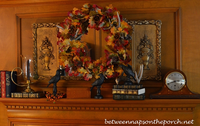 Fall Autumn Mantel Decorated with Wreath and Blackbirds_wm