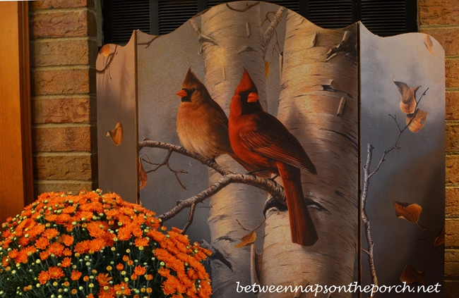 Fall Firescreen Depicting Cardinals and Birch Tree_wm