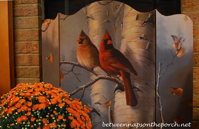 Fall Firescreen Depicting Cardinals and Birch Tree_wm