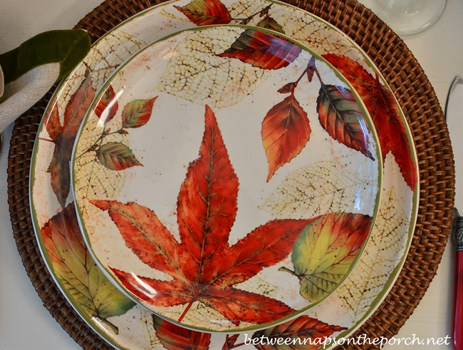 Fall Leaf Dishware & Fall Table Setting with Beautiful Leaf Covered Dishware and Acorn ...
