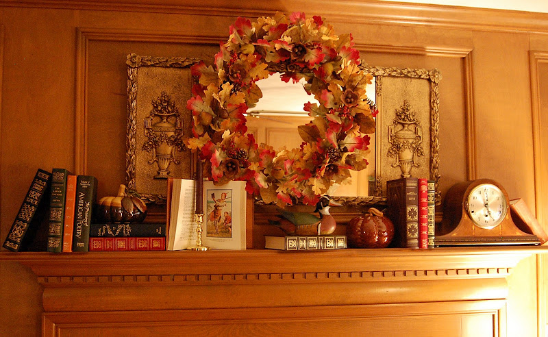 Fall Mantel with Books and Pumpkins