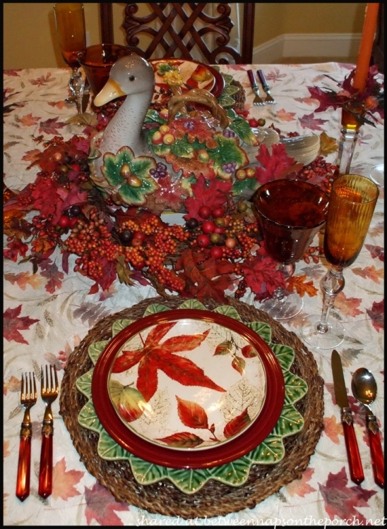 Fall Table Setting with Fall Leaves Dishware 6