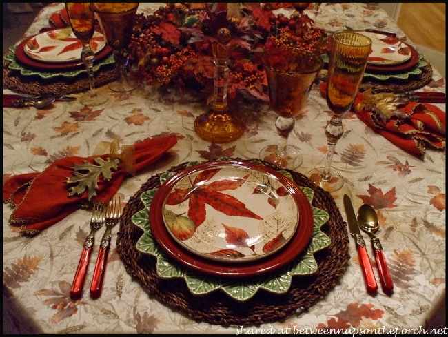 Fall Table Setting with Fall Leaves Dishware 7