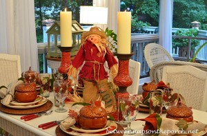 Fall Table Setting with Scarecrow Centerpiece