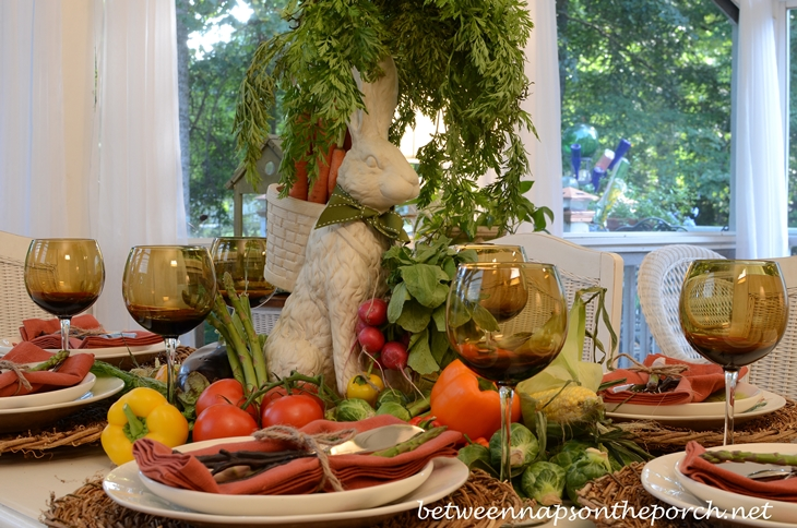 Garden Table Setting with Bunny and Vegetable Centerpiece