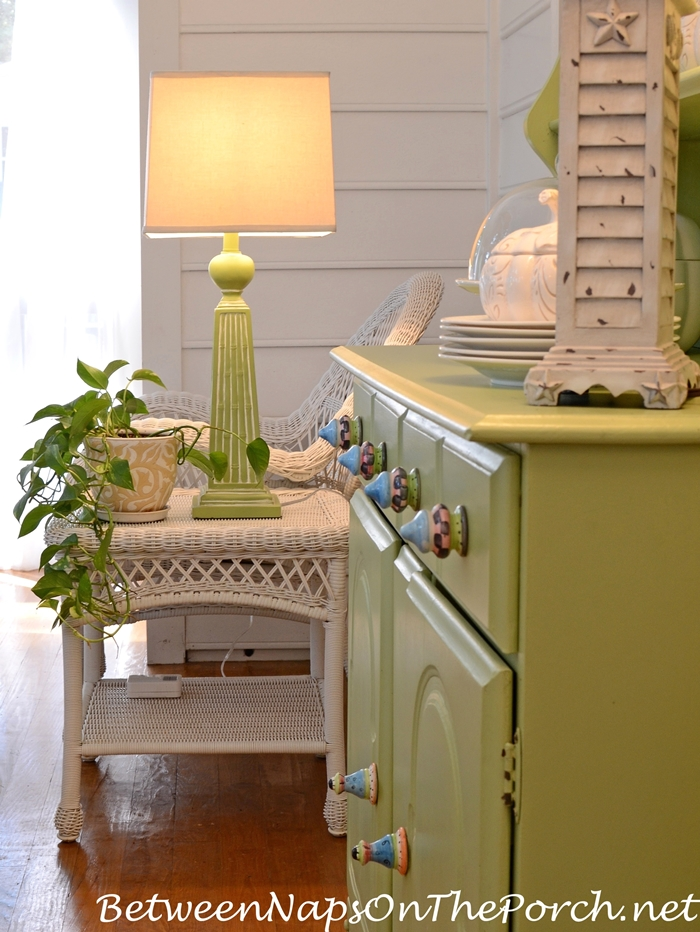 Green Painted Hutch and Lamp for Screened Porch