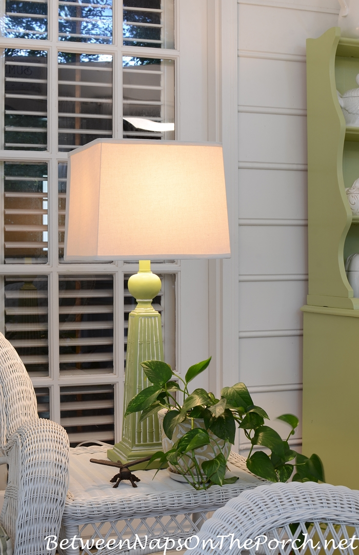 Green Painted Lamp With Square Shade