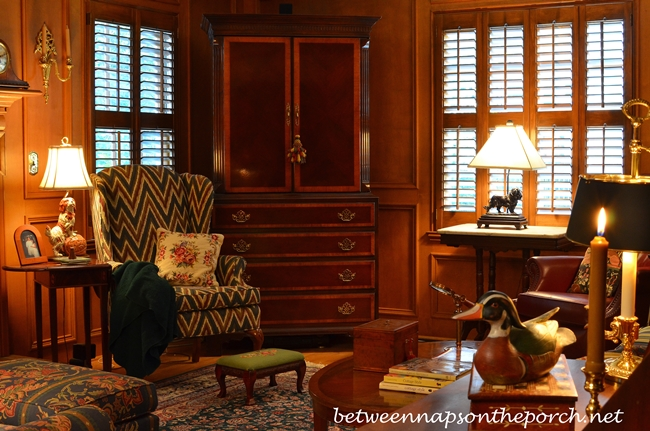 Lodge or Hunt Themed Den with Judges Paneling