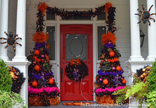 Porch Decorated for Halloween