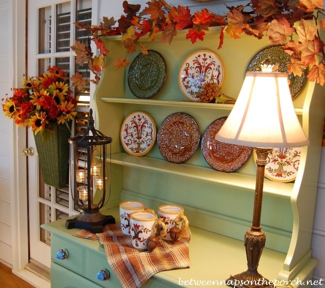 Porch Hutch Decorated for Fall