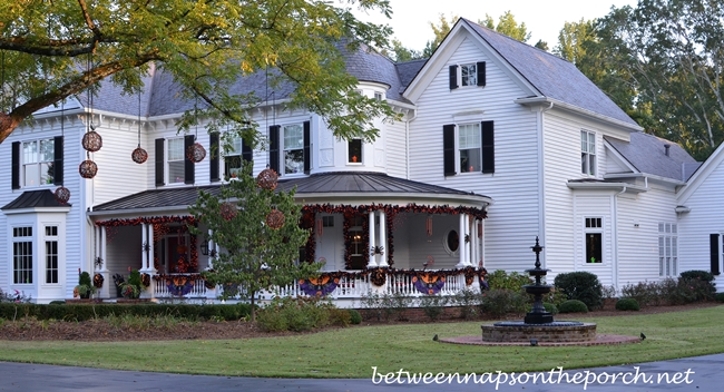 Victorian Home Decorated for Halloween