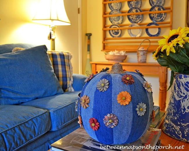 A Denim Pumpkin for the Upstairs Family Room with a Denim Sofa