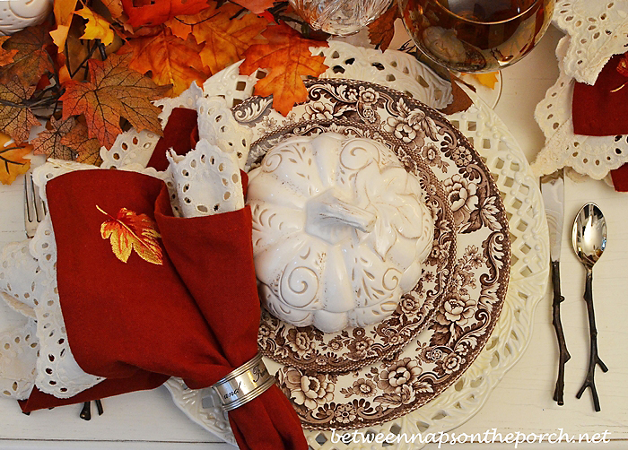 Autumn Fall Table Setting with Spode Woodland, Pumpkin Soup Tureens and Twig Flatware