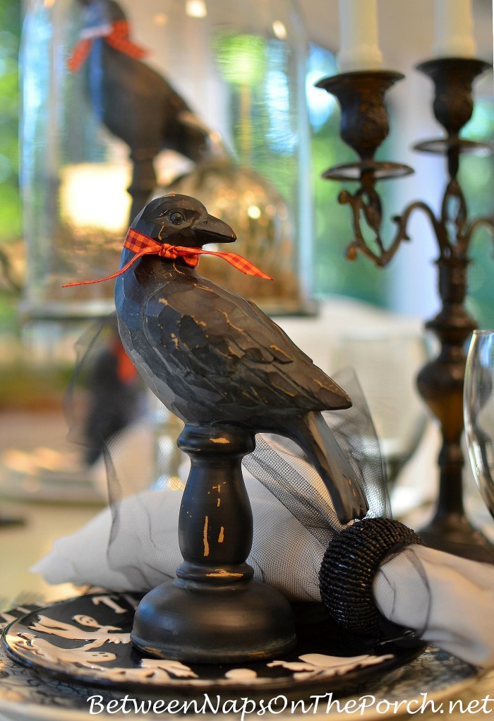 Black Wood Crows for Halloween Decorating & Tablescapes