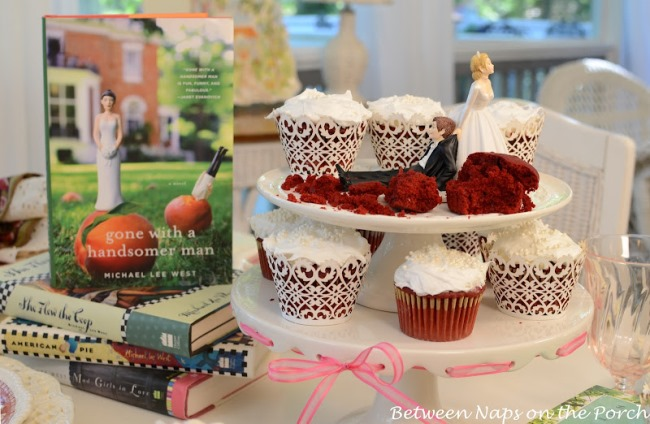 Bridal Shower Table Setting with Copeland Spode Tower and Red Velvet Cupcakes 10