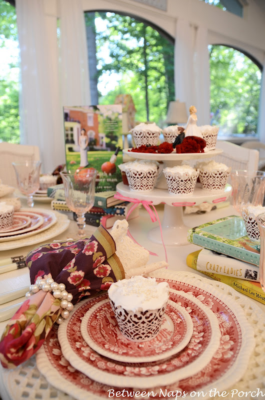 Bridal Shower Table Setting with Copeland Spode Tower and Red Velvet Cupcakes 11