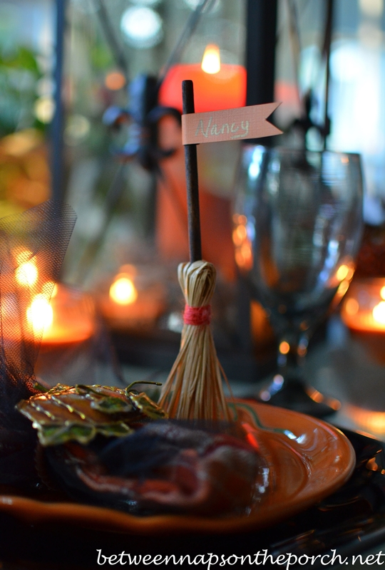 Broomstick Place Cards for Halloween Table Setting 1