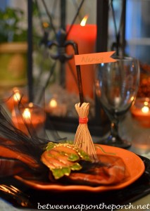 Broomstick Place Cards for Halloween Table Setting 3