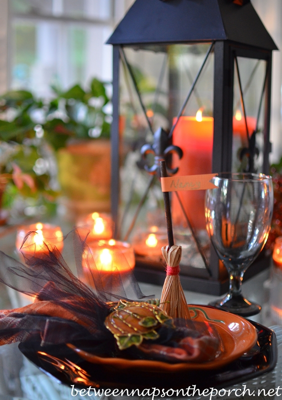 Broomstick Place Cards for Halloween Table Setting 4