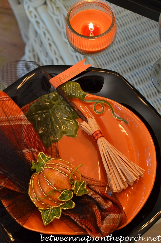 Broomstick Place Cards for Halloween Table Setting 5