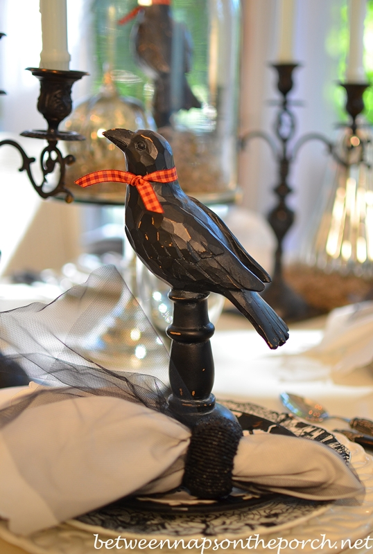 Carved Black Crow for a Halloween Table