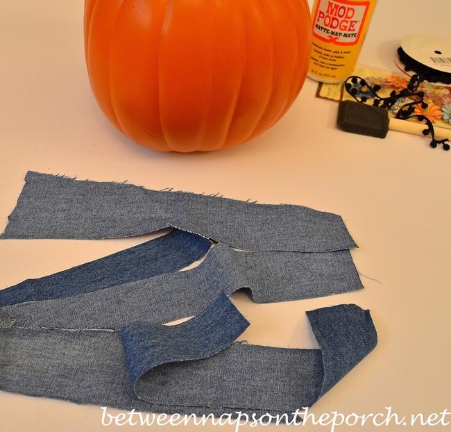 Cut Strips of Old Jeans to Make a Denim Pumpkin