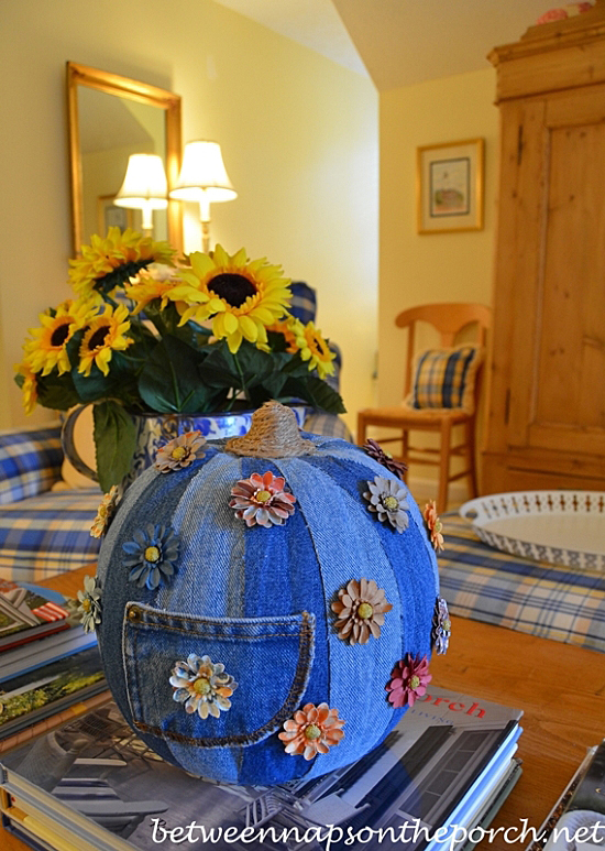 Decoupage a Craft Pumpkin with Denim Fabric