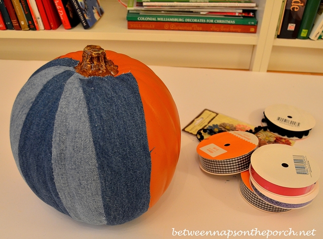 Decoupage a Denim Pumpkin