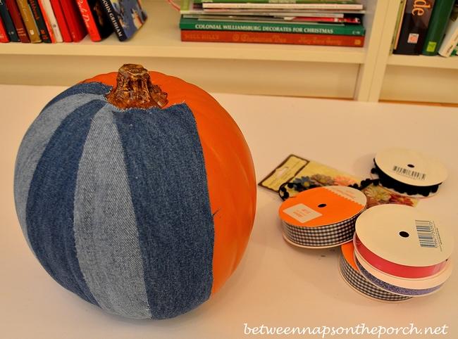Decoupage a Denim Pumpkin