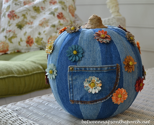 Denim Pumpkin on Screened Porch