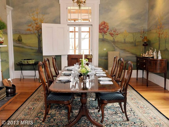 Dining Room with Beautiful Mural in an Historic Equestrian Estate in Virginia 04