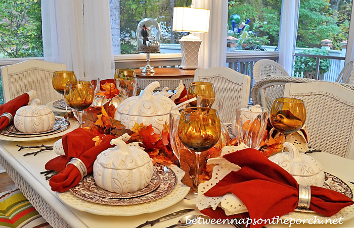 Fall Table Setting Tablescape  with Pumpkin Tureen Soup Bowls 12