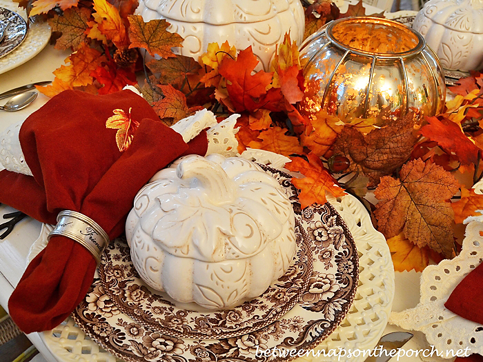 Fall Table Setting with Pumpkin Tureens