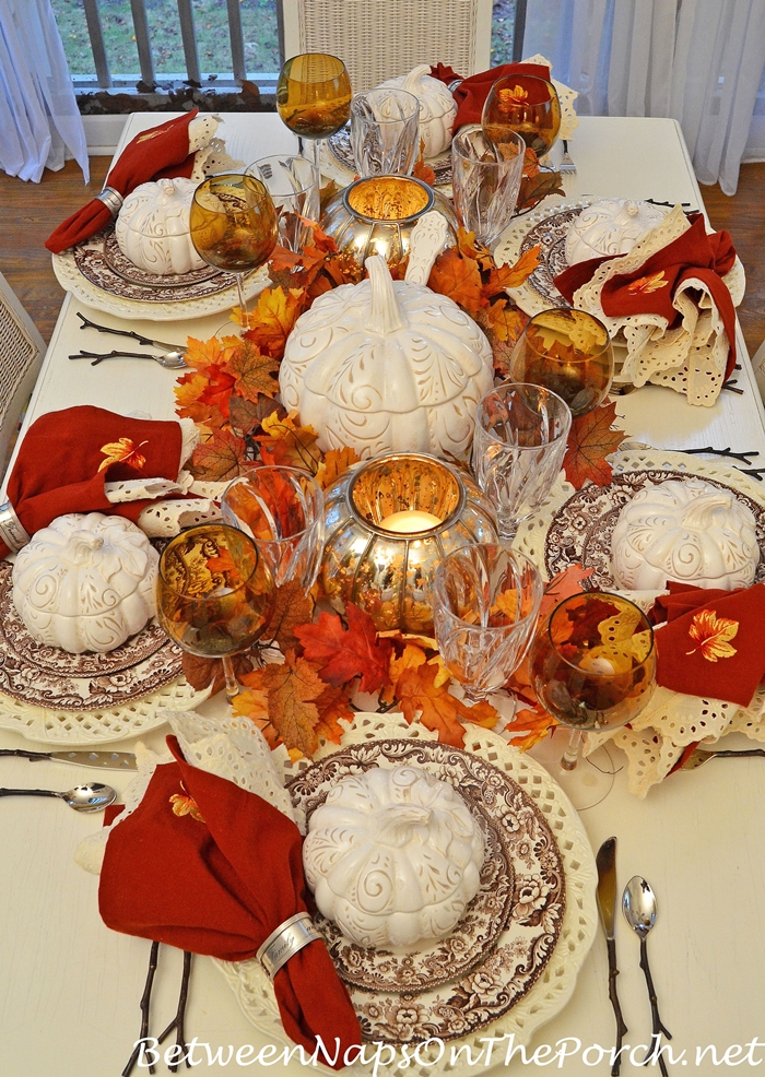 Autumn Fall Table Setting with Spode Woodland, Pumpkin Tureens, Twig Flatware and Mercury Glass