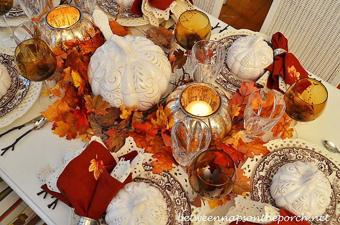 Fall Tablescape on the Porch with Spode Woodland and Pumpkin Tureens