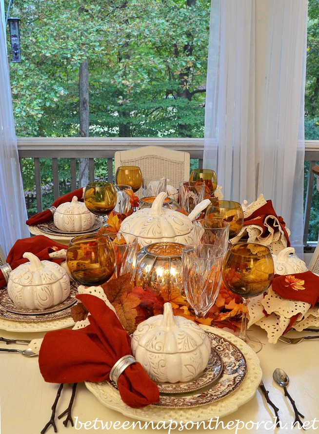 Fall Tablescape with Individual Pumpkin Tureens