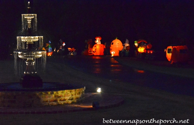 Fountain Lit Up at Night