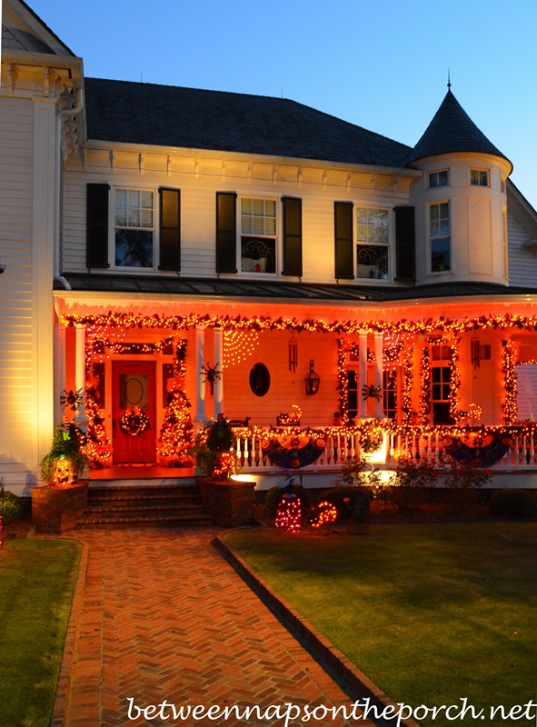 Front Porch Decorated for Halloween with Lights