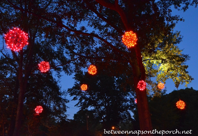 Glowing Orbs Hanging from Trees for Halloween
