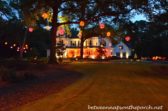 Halloween Decorating with Exterior Lighting
