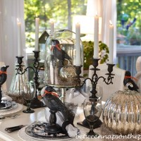 Halloween Table Setting with Crows and Mercury Glass Pumpkins